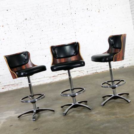 Vintage Modern Daystrom Adjustable Black Bar Stools Molded Curved Backs Set 3