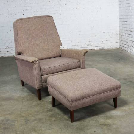 Mid Century Modern Reclining Lounge Chair and Ottoman Style of Wormley for Dunbar