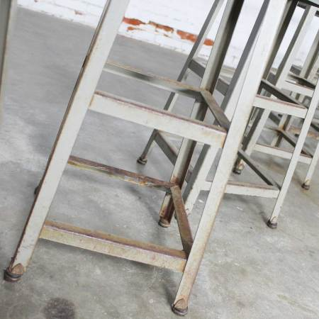 Industrial Counter Height Stools Vintage Patinated Steel with Distressed Wood Seats Set 4