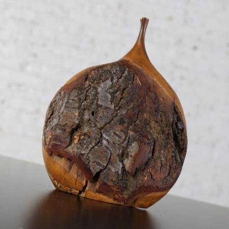 Fine Art Turned Apricot Wood Delicate Weed Vase with Natural Bark by Doug Ayers