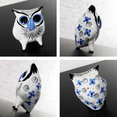 Vintage Tonala Pottery Owls Hand Painted and Made in Mexico Collection of Six