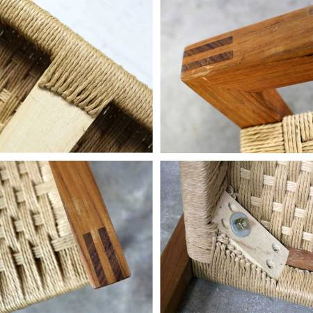 Scandinavian Modern Style Rope and Teak Bench by Sun Cabinet Company