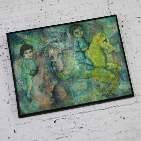 Vintage Impressionist Painting of Children on Horseback by Brooks Wolcott