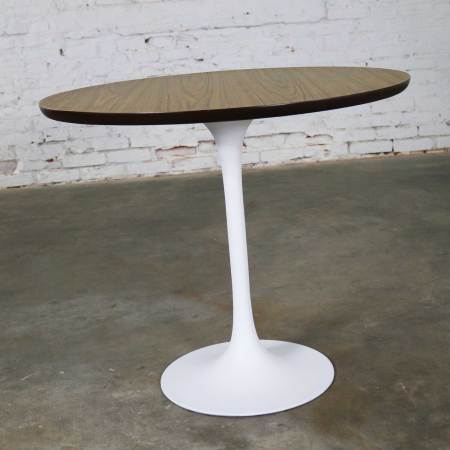 Vintage Saarinen Style White Tulip Base Table Light Woodgrain Laminate Top