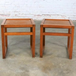 Vintage Scandinavian Modern Pair of Square Open Cube Side Tables in Teak