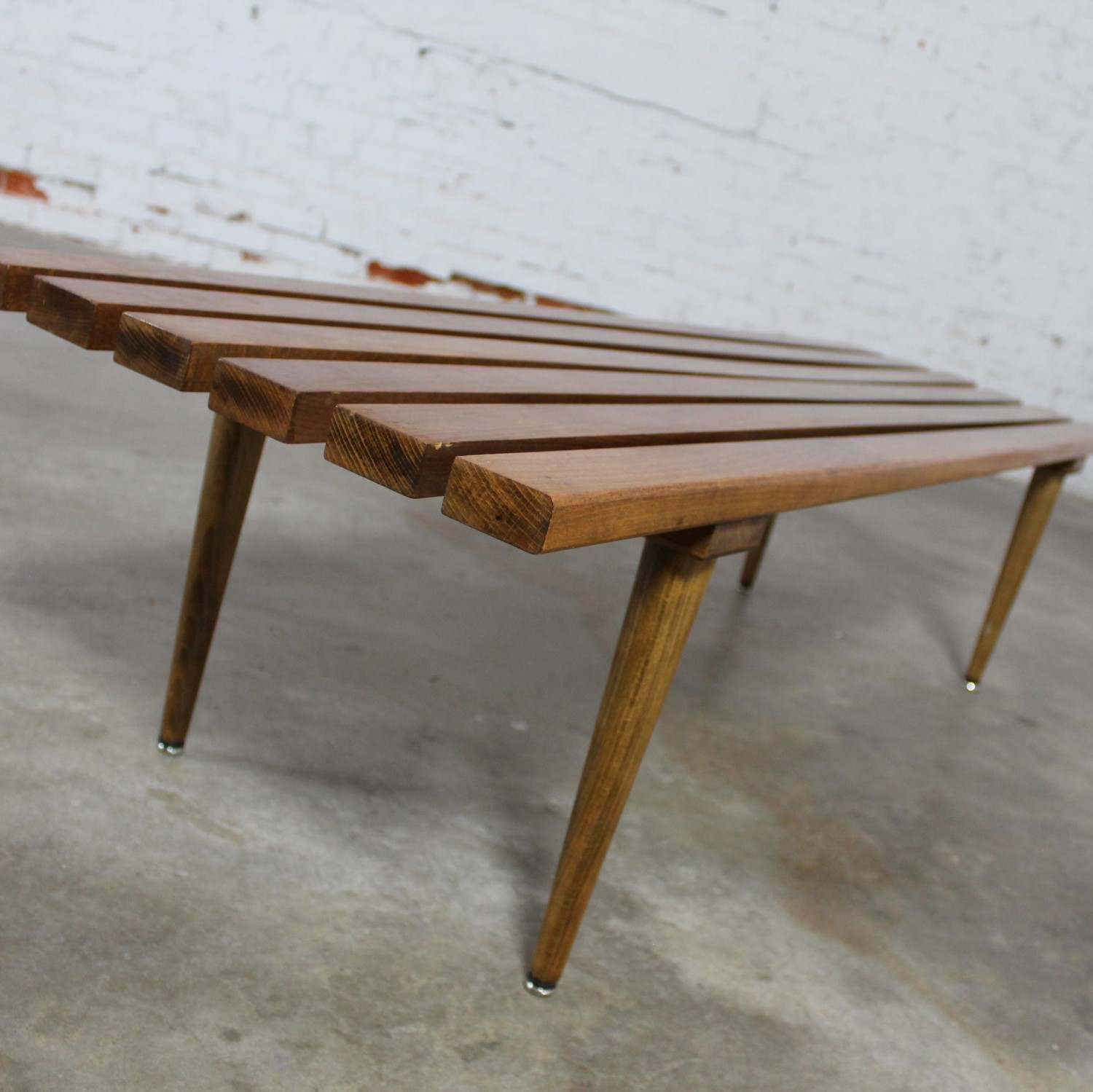 Yugoslavian Slatted Bench Coffee Table Vintage Mid Century