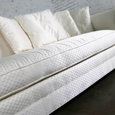 White Art Deco Hollywood Regency Chaise with Loose Pillows & Rolled Arm & Back