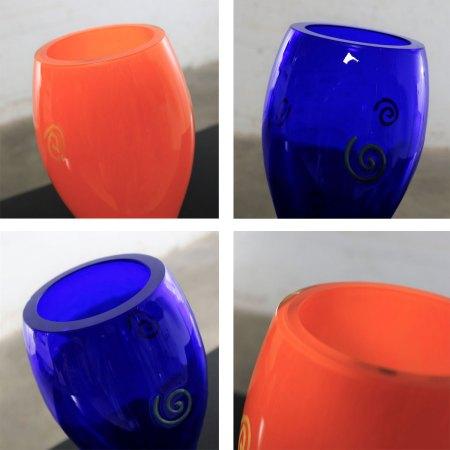 Czech Cobalt & Orange Hourglass Art Glass Vases Shafaq Malik Ahmed for Barovier & Toso
