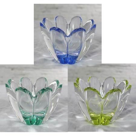 Set of 3 Vintage Orrefors Mayflower Bowls 1 Blue 1 Yellow 1 Green by Jan Johanssonls 1 Blue 1 Yellow 1
