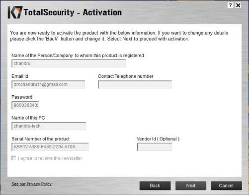K7 Total Security 2017 Email ID and Serial Number