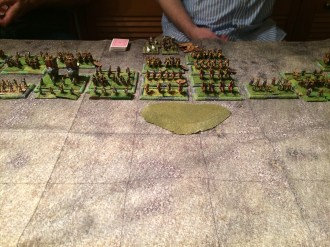 Persians deploy behind the high ground.