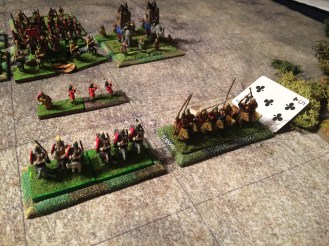 The Persian cataphracts clear away the opposition but then become disordered in the confusion (Ace drawn).