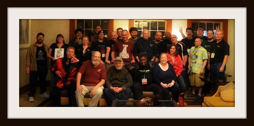 Dilly Green Bean Games' TotalCon 2016 Cocktail Hour Class Photo depicting some of the incredible industry guests, con staff, vendors, and the only member of the press...your's truly.