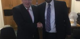 The CEO of Dahabshiil, Abdirashid Duale, with British Prime Minister Boris Johnson