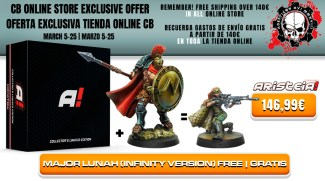 "Con la compra de Aristeia! Core Collector's Limited Edition y Maximus ""Thermopylae"" obtén una miniatura de Mayor Lunah totalmente gratis"