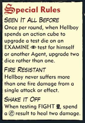 Hellboy: The board Game Carta de Agente Reglas especiales