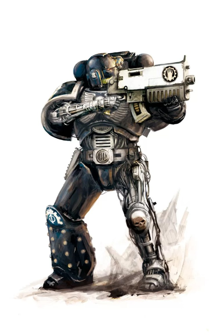 A Space Marine of the Iron Hands Chapter, known for their extensive use of augmetics and bionic implants. Artist – Alex Boyd Released – 2012