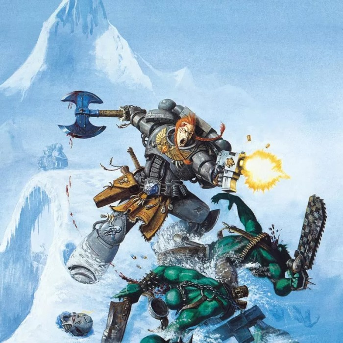A Space Marine of the Space Wolves attacks some Orks. This image featured on the cover of the third edition Space Wolf Codex.