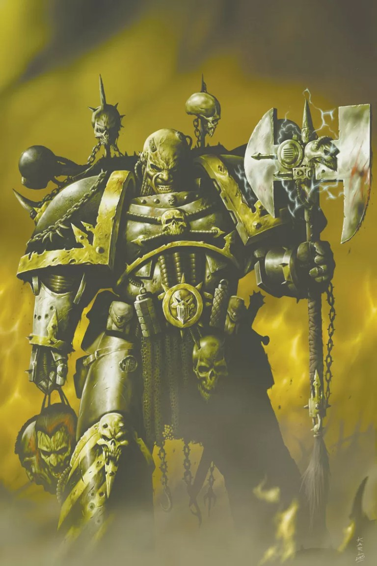 Chaos Space Marine from the Iron Warriors Legion. Once loyal Space Marines, this Legion fell under the thrall of the Dark Gods during the fabled Horus Heresy. Artist – Karl Richardson Released – 2004