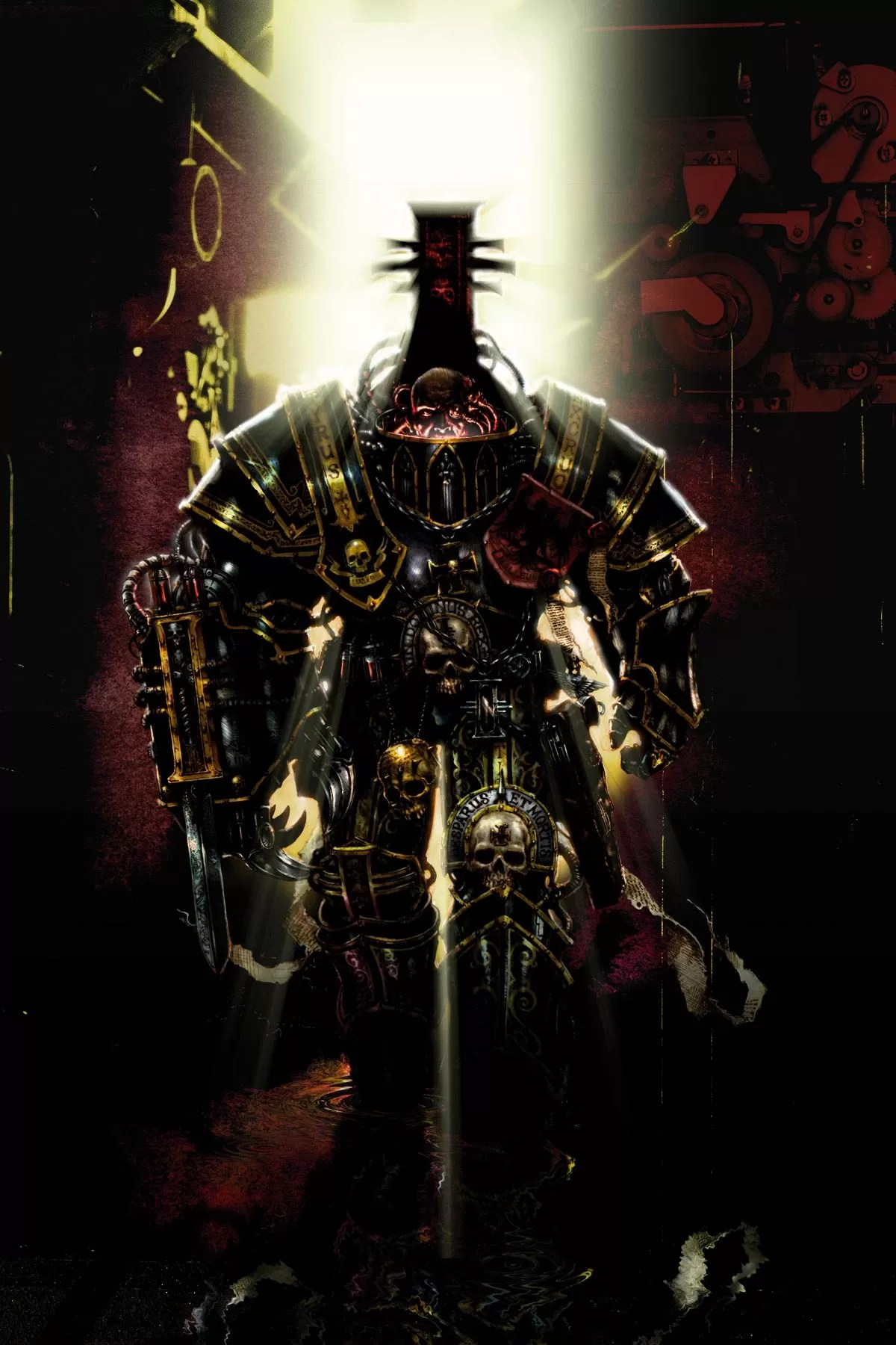 Witch Hunter Tyrus of the Ordo Hereticus arrayed in his full war panoply.