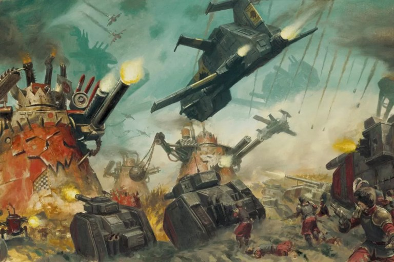 Orks versus Valhallans and Space Wolves.