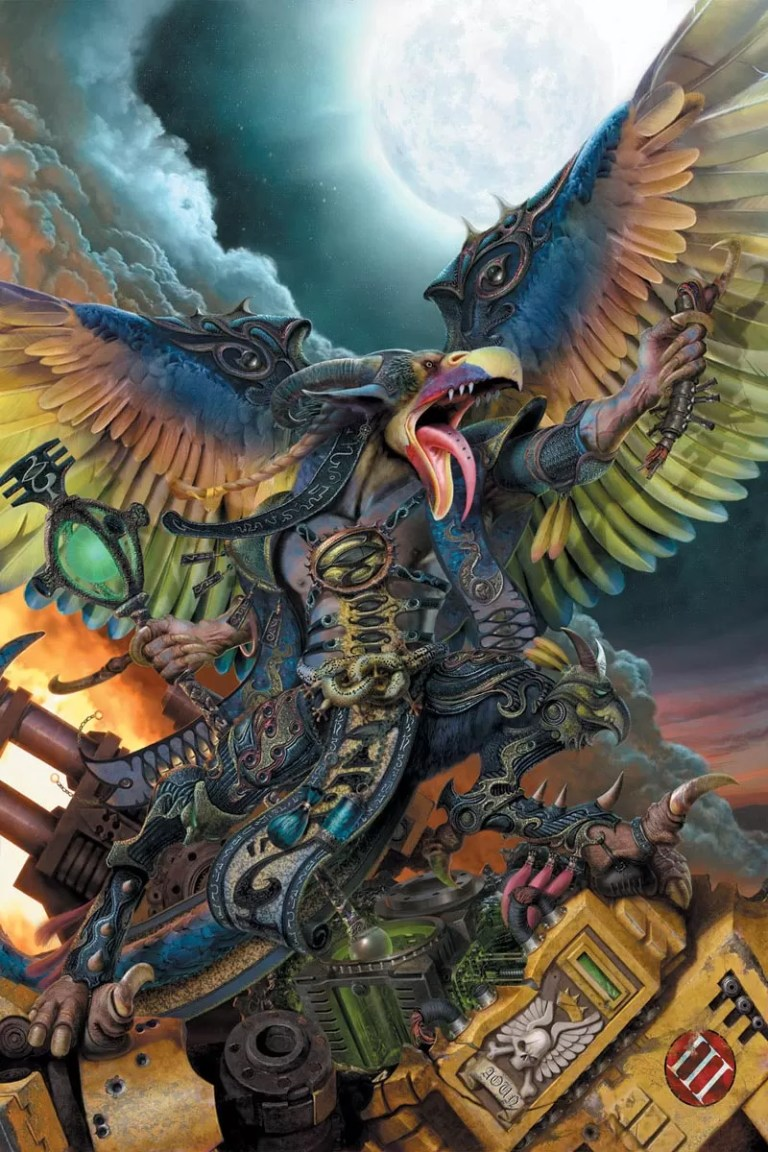 A Greater Daemon of Tzeentch, the god of change seen here tearing apart a Dreadnought of the Imperial Fists Chapter.