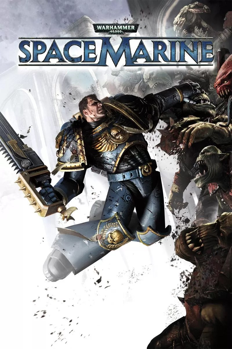 This piece of art was created for the cover of the Space Marine video game by THQ. It features Titus, the main character in the game slaying Orks with his trusty chainsword.