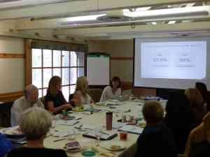 Karen Ferguson - center - leads a discussion in the Practice Management seminar