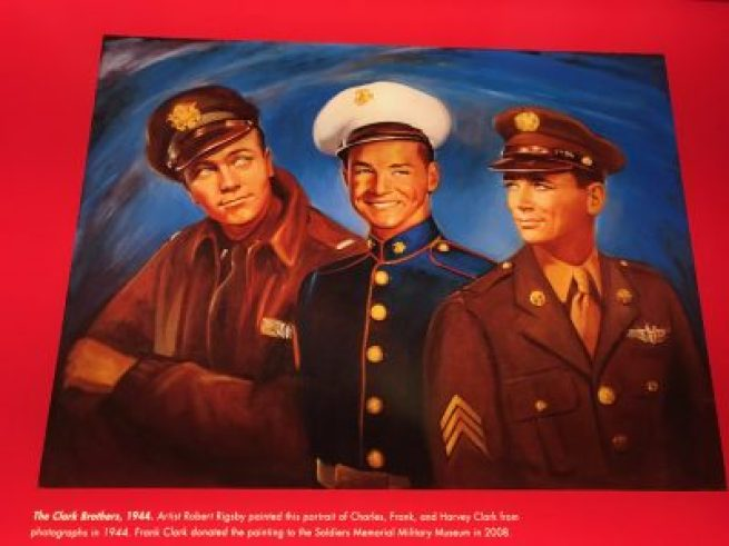 Painting of the three St. Louis Clark brothers, two of whom died in WW II.