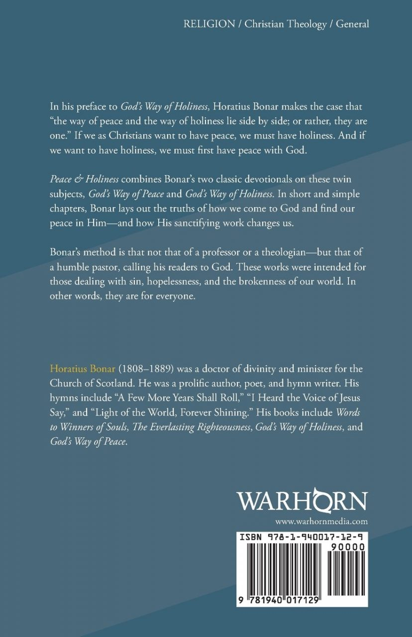 Peace & Holiness Bonar back cover
