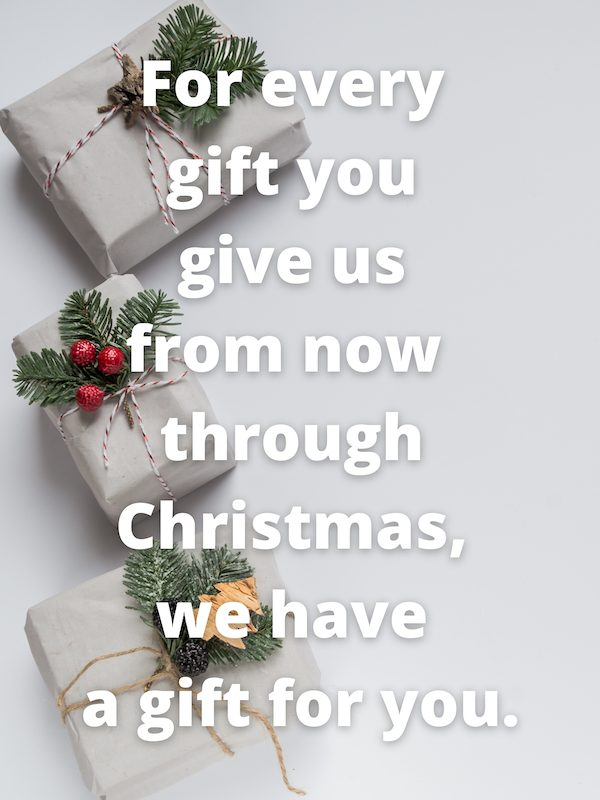 For every gift you give us from now through Christmas, we have a gift for you.