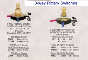 Rotary lamp switch  Rotate to the correct light