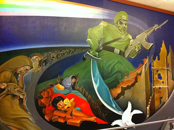 Was the coming WW III moment foretold on a mural at Denver International Airport near baggage pick-up?