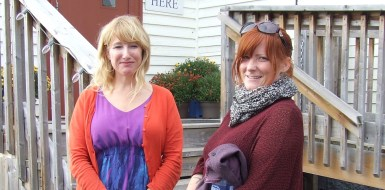 Jackie Torrens (L) and the film's producer, Jessica Brown outside The Hall