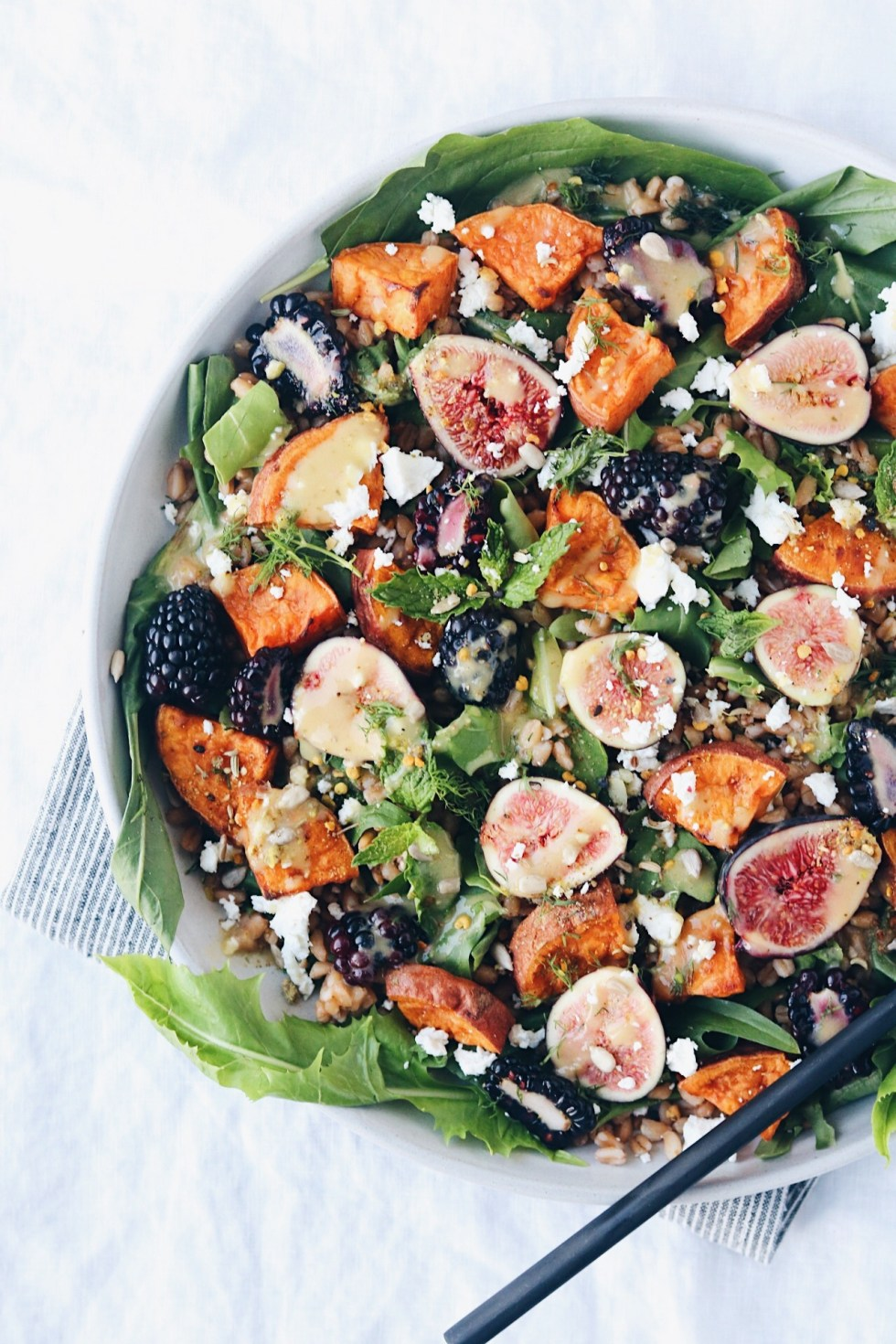 Late Summer Salad with Roasted Shallot Dressing