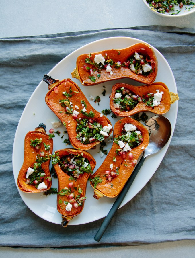 Roasted Honeynut Squash + Pomegranate Gremolata