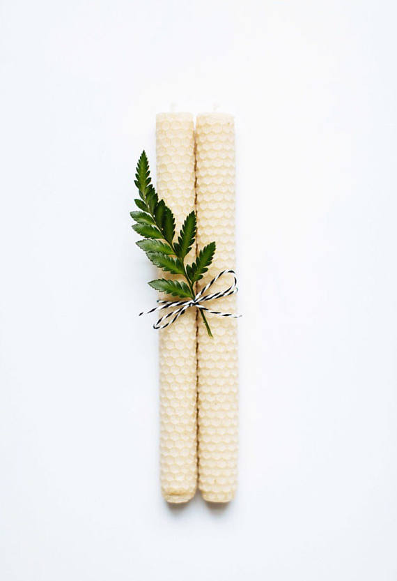 Honey + Fern Beeswax Candles