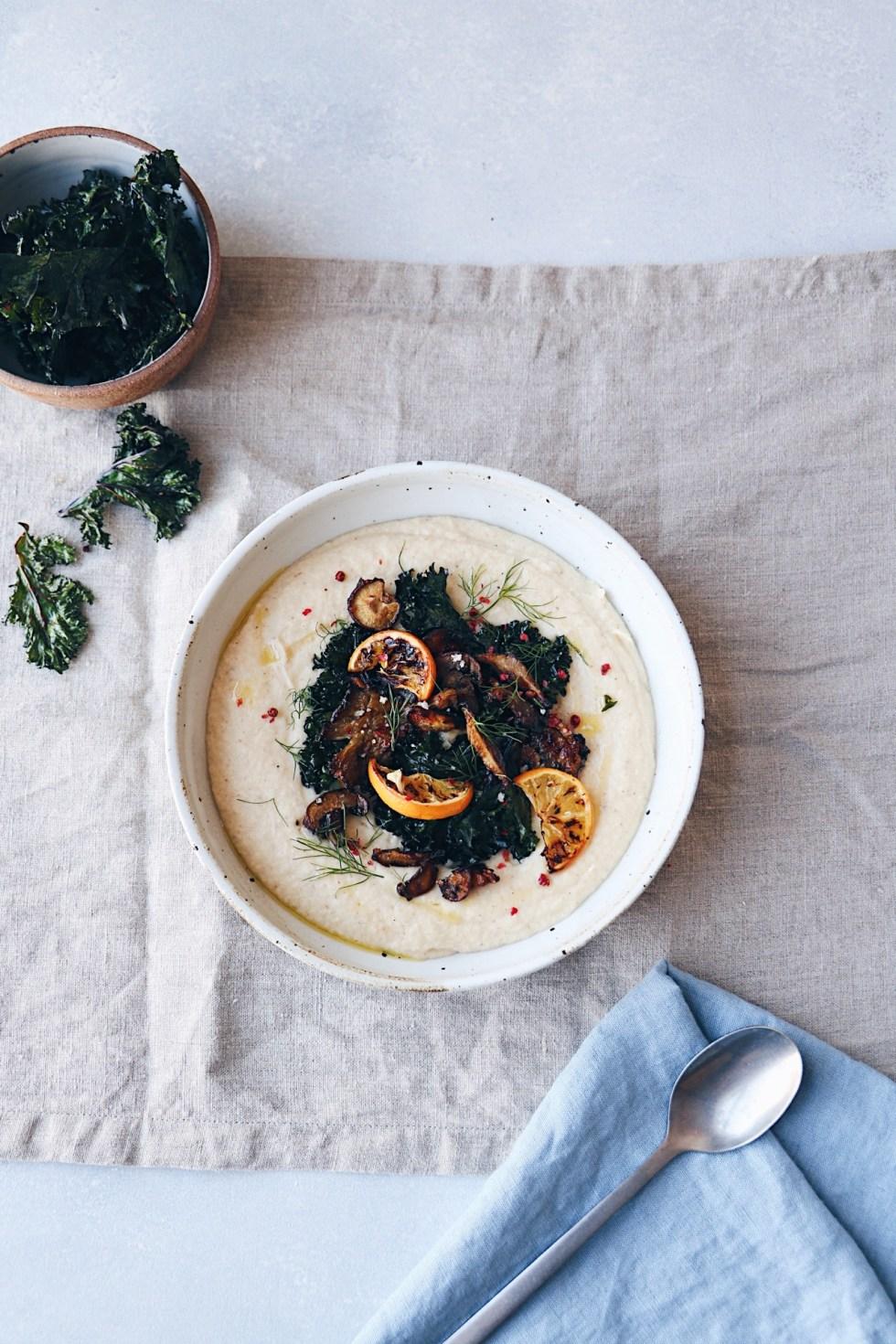 Creamy Roasted Cauliflower + Meyer Lemon Soup with Crispy Kale and Mushrooms - warmandrosy.com