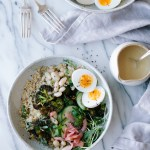 Brown Rice + Charred Broccoli Grain Bowl with Cucumber, White Beans, Egg and Miso Dressing