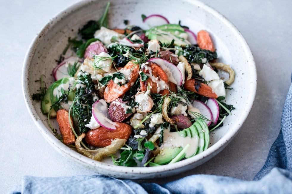Sheet Pan Salad with Carrots, Radishes, Fennel, Avocado, Feta + Creamy Tahini Mustard Dressing — warmandrosy.com