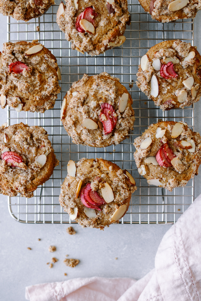 Rhubarb, Orange + Ginger Muffins with Almond Streusel