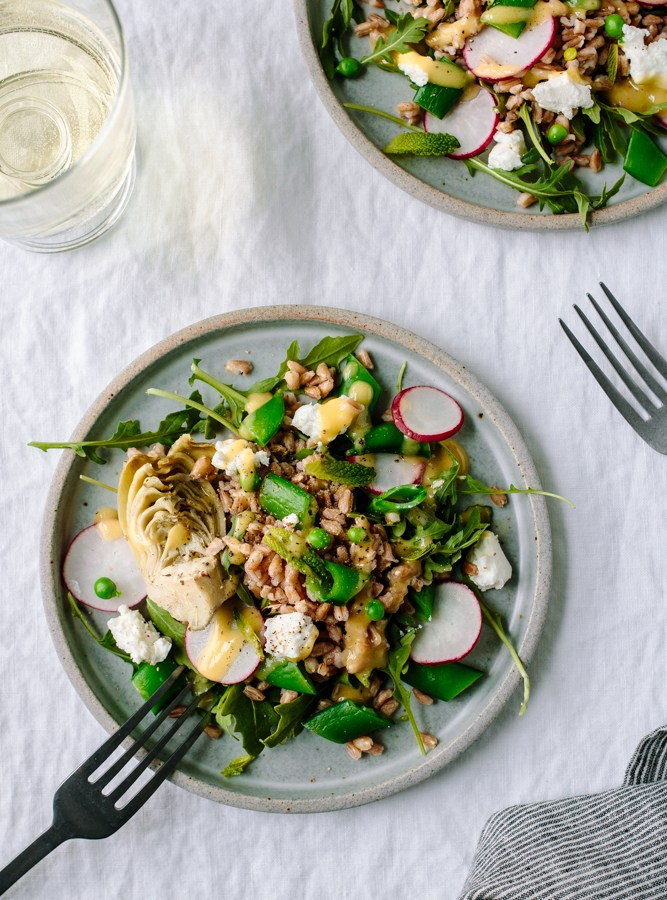 Spring Farro and Arugula Salad with Peas, Artichoke, Radishes and Goat Cheese — warmandrosy.com