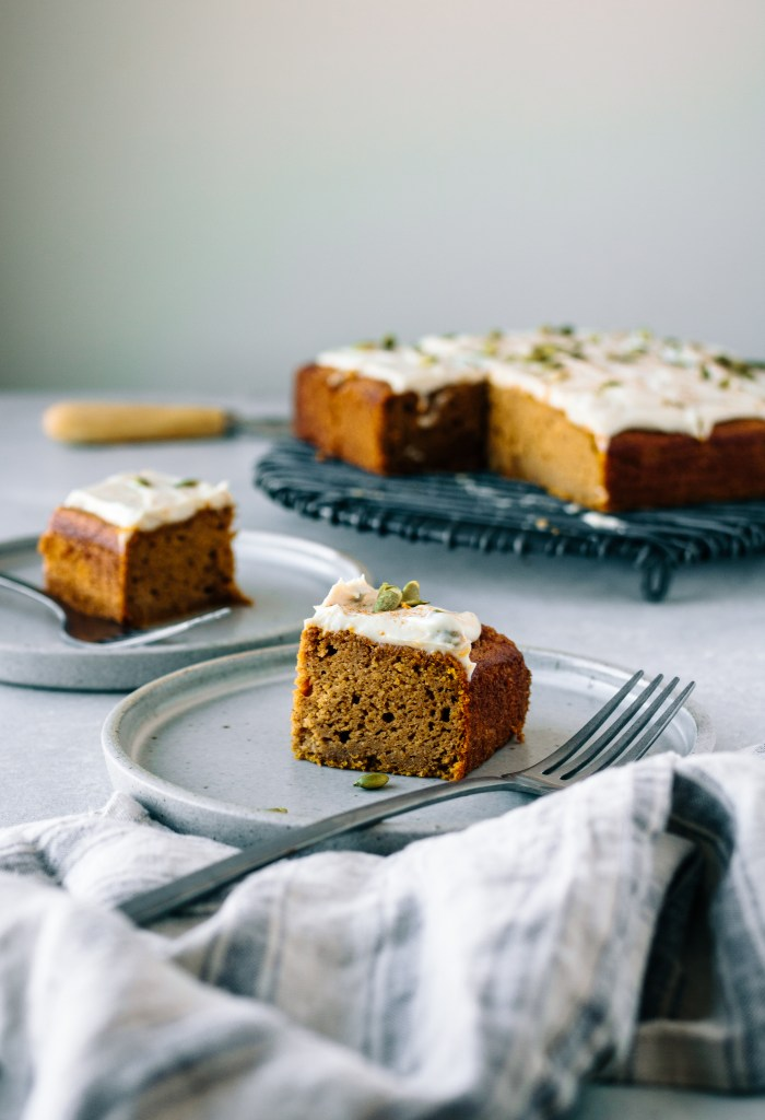 Pumpkin Snack Cake with Cream Cheese Frosting - warmandrosy.com