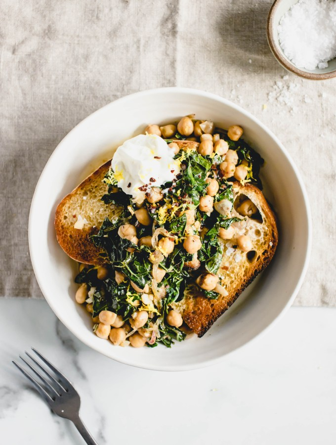 Masala Lemon Chickpeas + Kale on Toast — warmandrosy.com