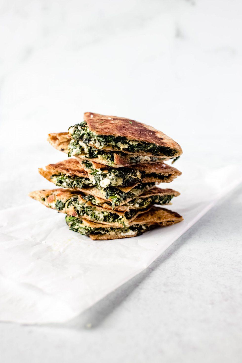 Spinach + Feta Stuffed Pita, aka Cheater's Spanakopita — warmandrosy.com