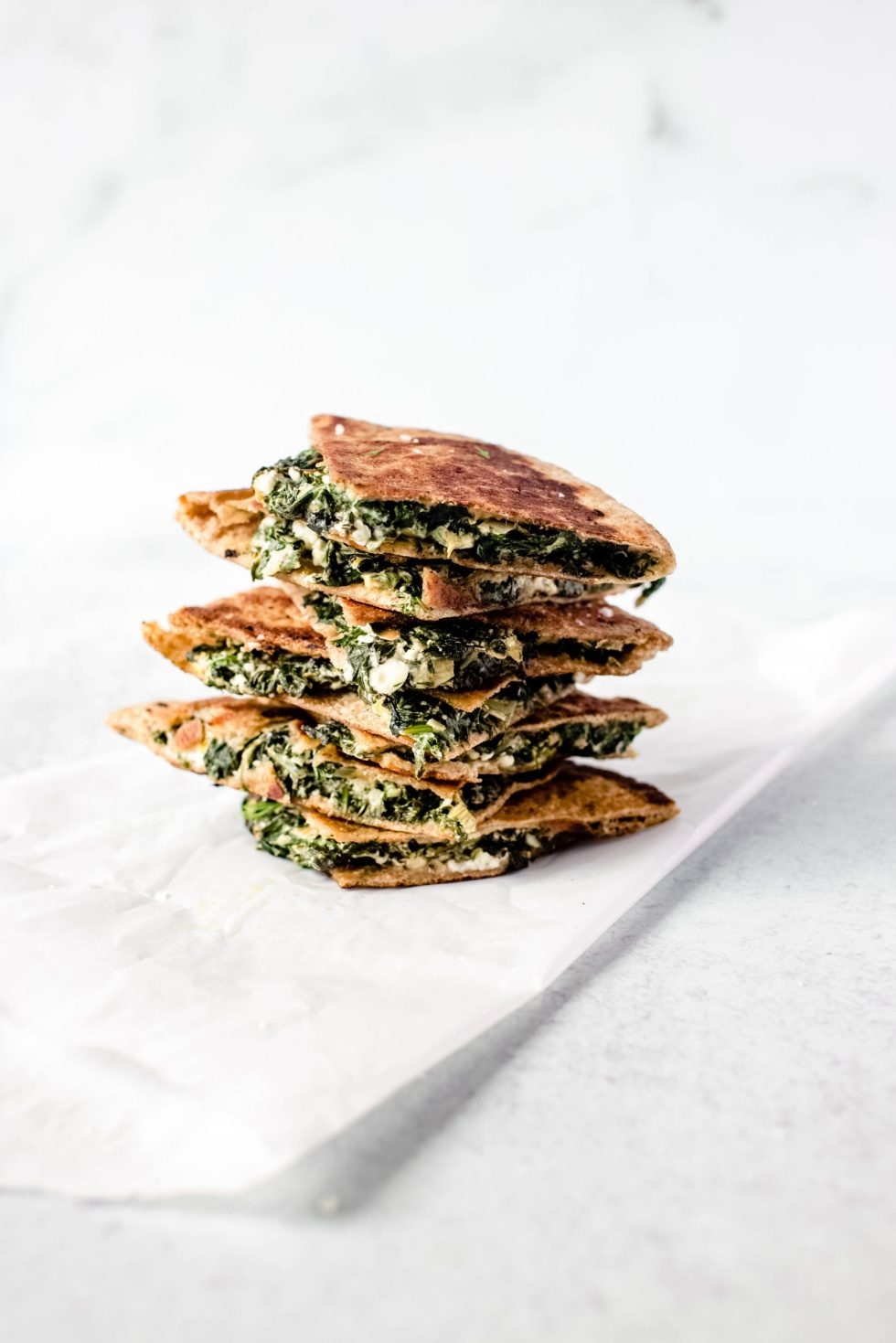 Spinach + Feta Stuffed Pita, aka Cheater's Spanakopita — warmandrosy.com