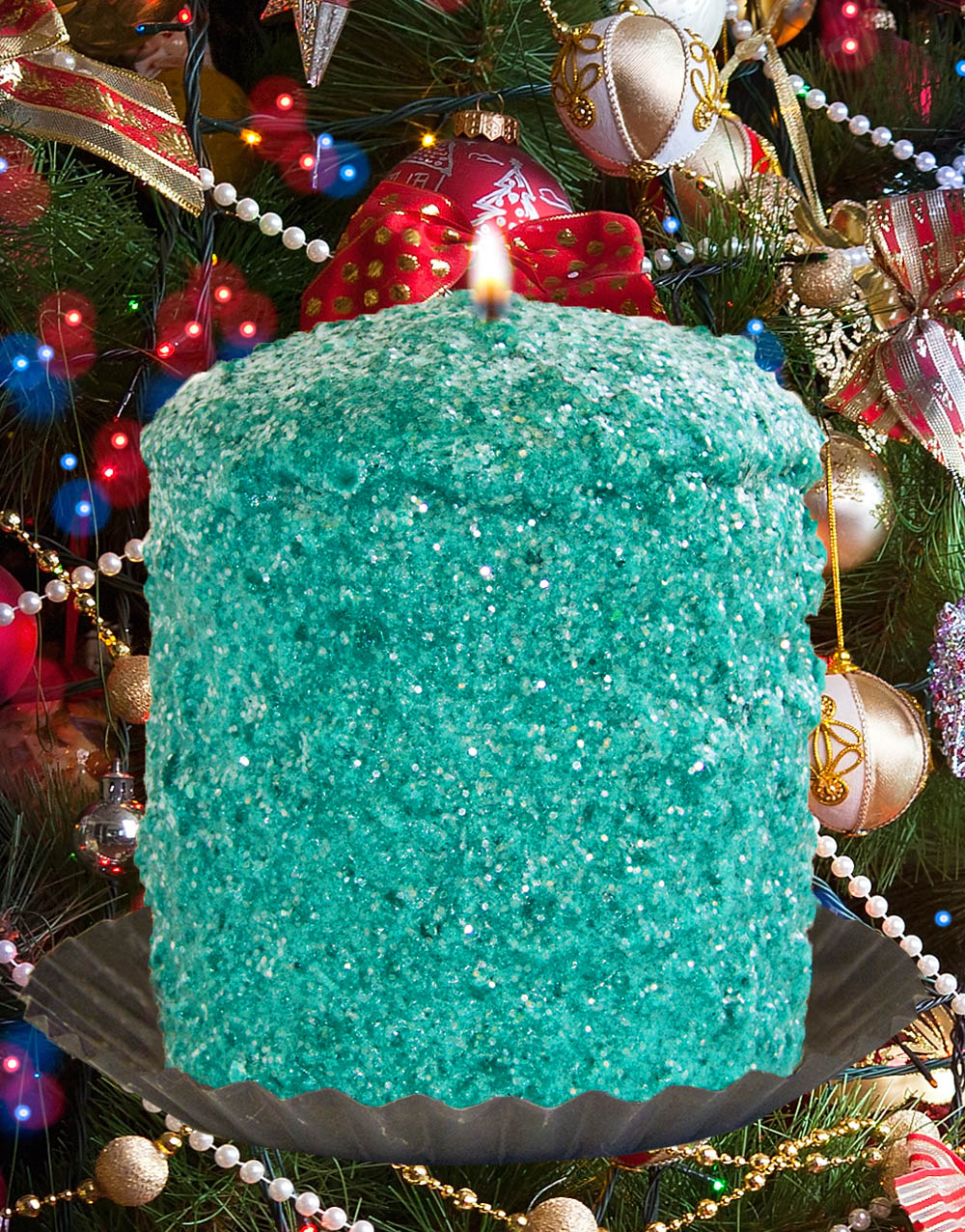 Christmas Tinsel Hearth Candle