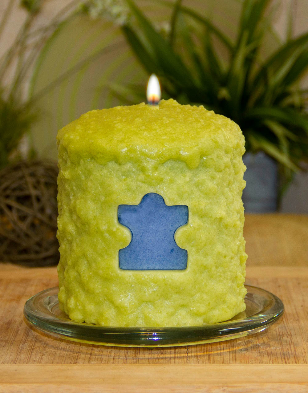 Puzzle Piece Hearth Candle
