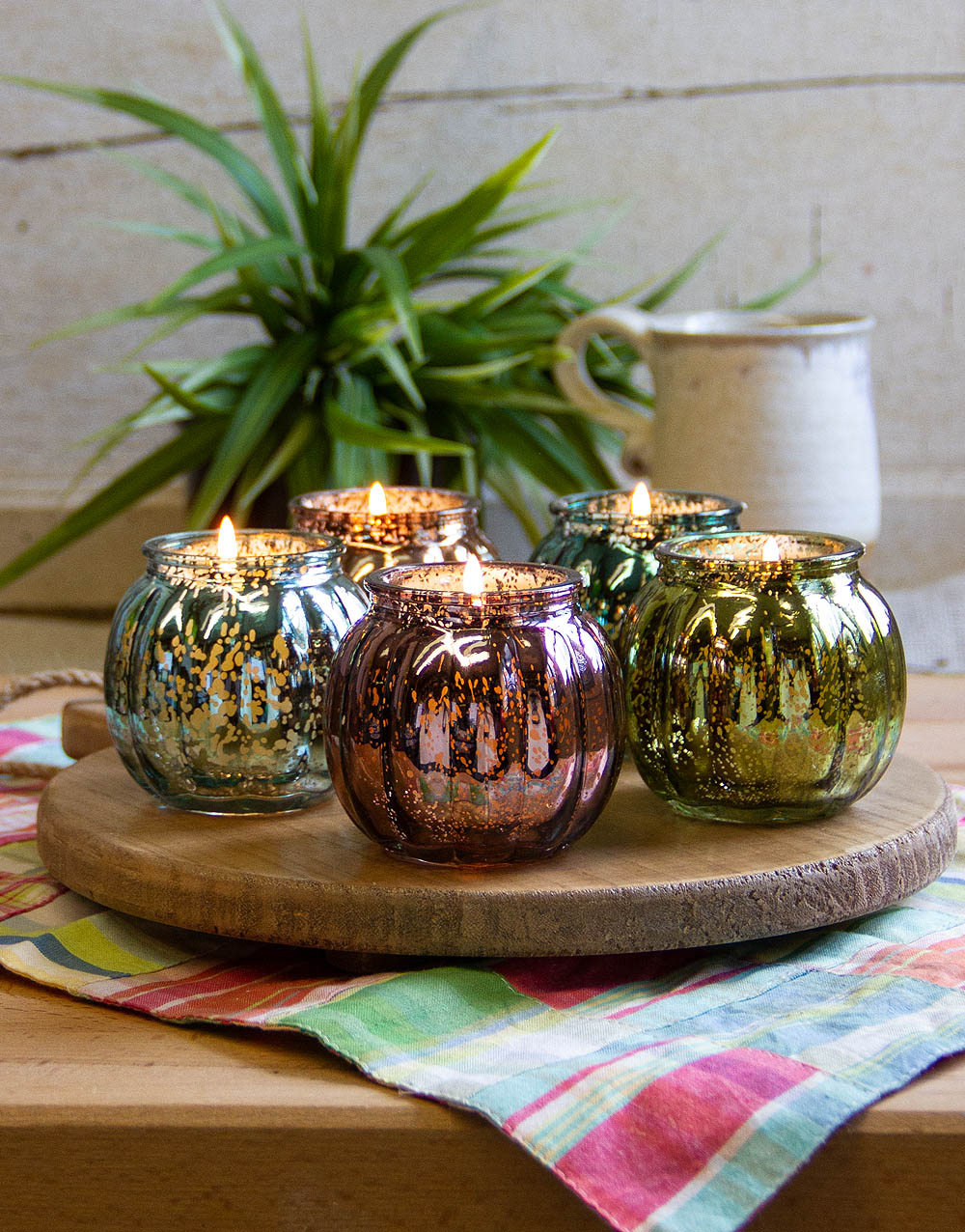 Round Board w/ Ribbed Mercury Glass Votive Holders