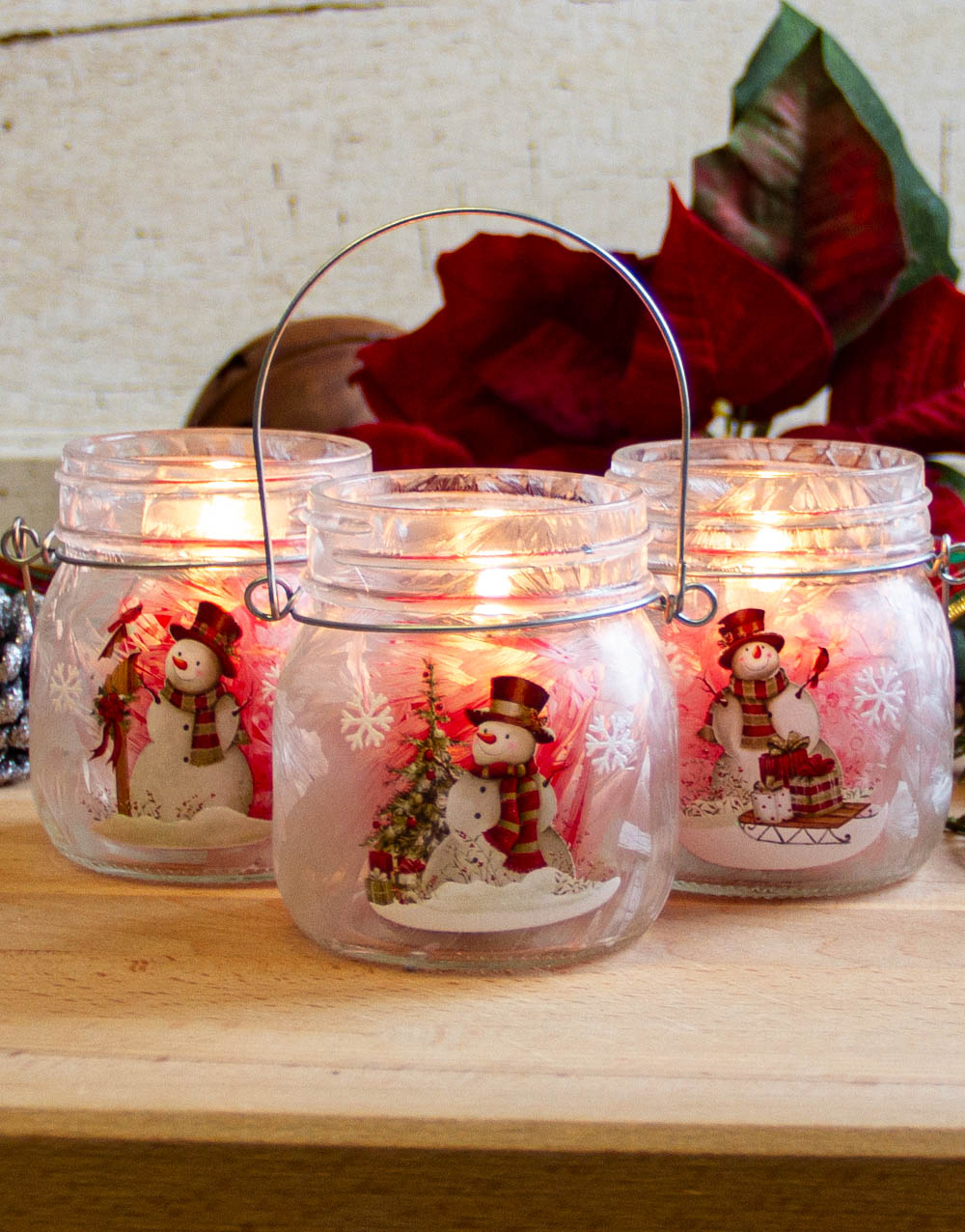 snowman-red votive